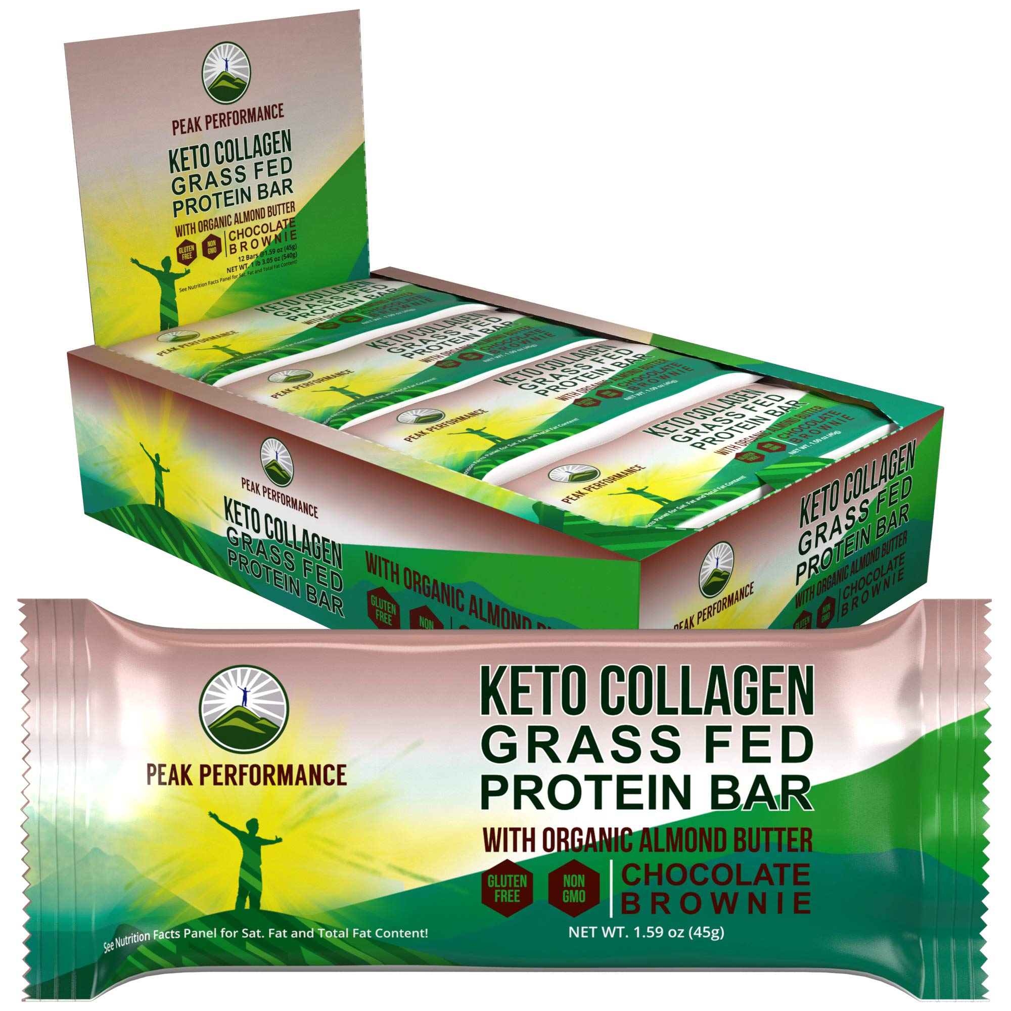 Keto Bars - Grass Fed Collagen Keto Protein Bars with Organic Almond Butter by Peak Performance (12 Pack). Delicious, Gluten Free, No Added Sugar, Perfect Snack for Paleo + Keto Chocolate Brownie Bar by Peak Performance