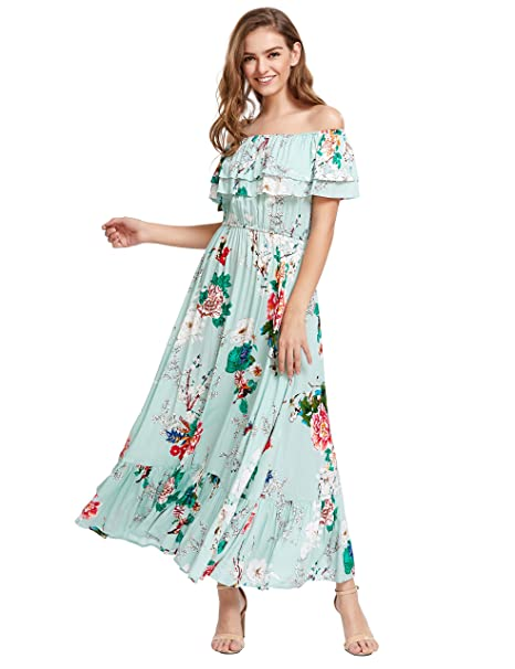 9afdc5e073b Milumia Women s Print Off The Shoulder Ruffle Maxi Dress at Amazon ...
