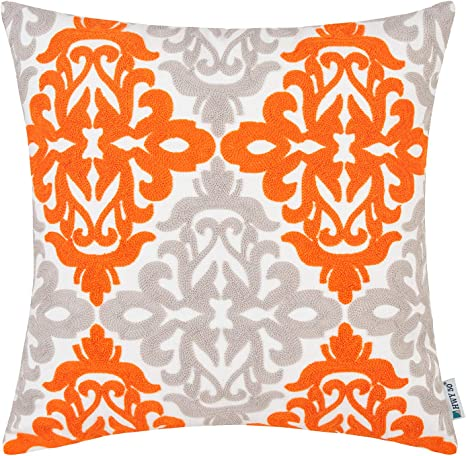 hwy 50 decorative throw pillows covers embroidered orange and light grey square pillows covers cushion cases for couch sofa living room farmhouse