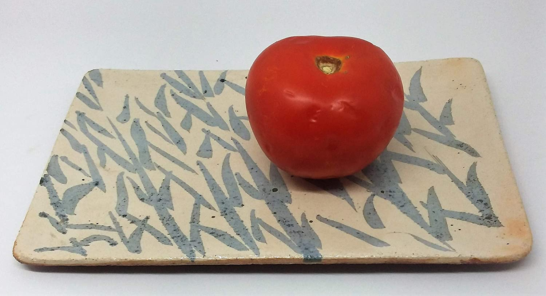 Bandeja de ceramica para decoració n y uso alimentario, hecha a mano. Pieza ú nica. hecha a mano. Pieza única.