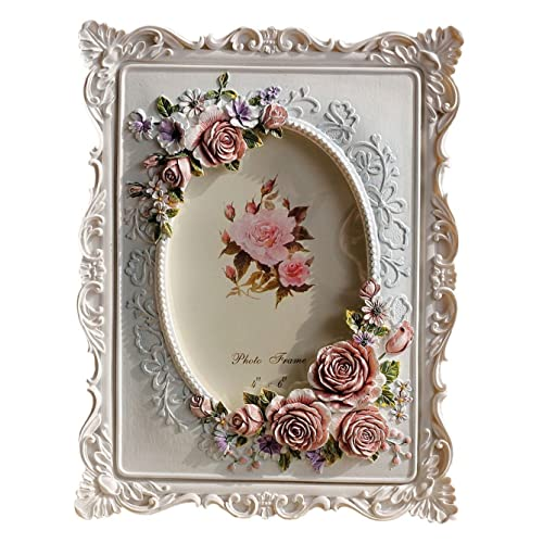 Giftgarden White Photo Frame 6x4 Oval Picture Frames Rose Decor for Valentines Gifts, Birthday Gifts