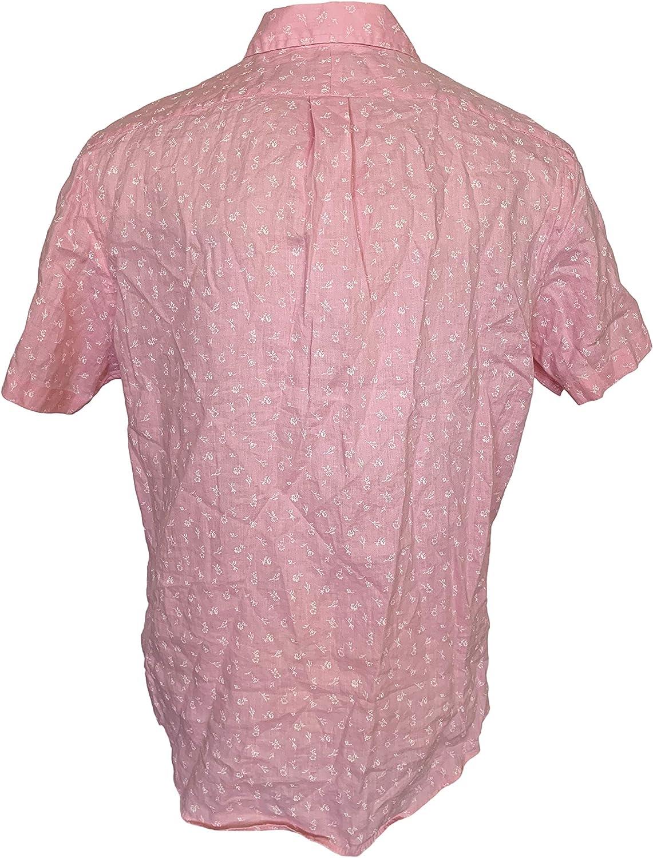 NWT Polo Ralph Lauren Men/'s Pink Linen Button Down Shirt Custom Fit Pocket New