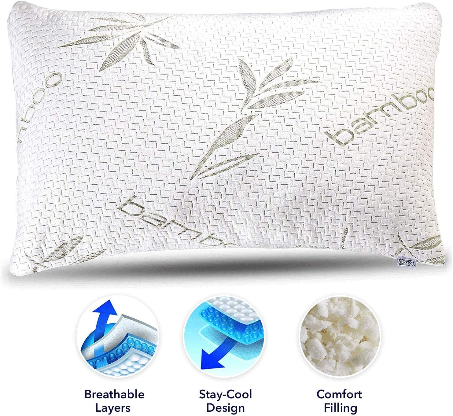 Sleepsia Bamboo Pillow - Premium Pillows for Sleeping - Memory Foam Pillow with Washable Case - Queen Size Pillow (Queen)