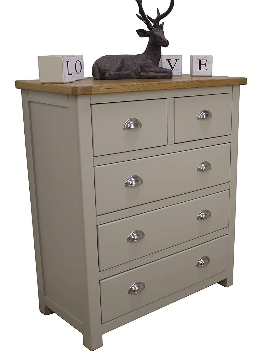 Aspen Painted Oak Sage / Grey Chest of Drawers / 2 Over 3 Drawer ...