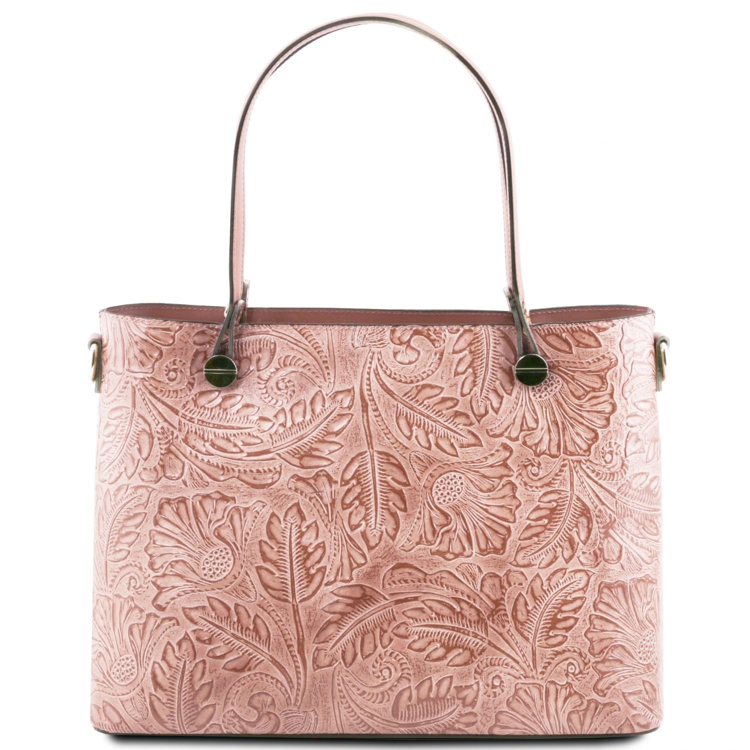 Tuscany Leather Atena Leather shopping bag with floral pattern Nude