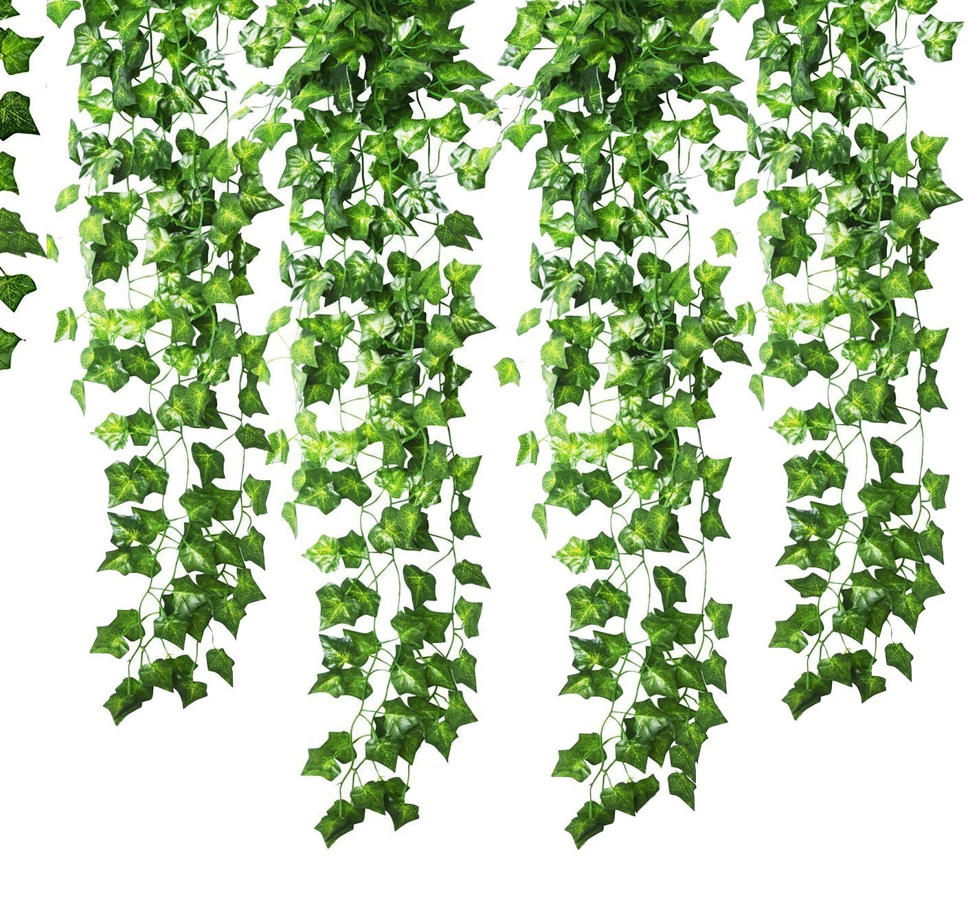 12 Strands (83 Feet) Artificial Ivy Garland Foliage Green Leaves Fake Hanging Vine Plant for Wedding Party Garden Wall Decoration Xutong