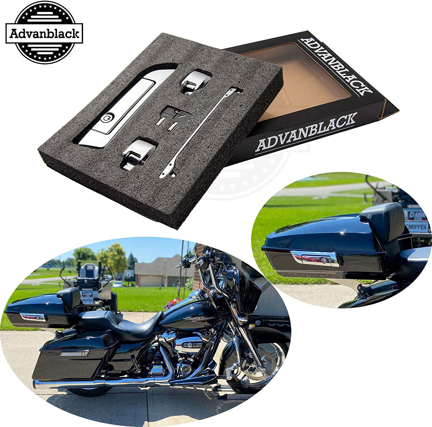 Chopped//Razor//King Replacement Chrome Latches for Harley Davidson Tour Pack