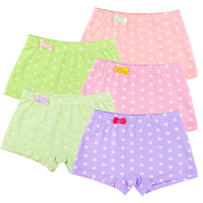 BOOPH Girls Panties, Kids Little Girls' Boyshort Polka Dot Hipster Baby Toddler Underwear for Girl 6-8 Year (Pack of 5)