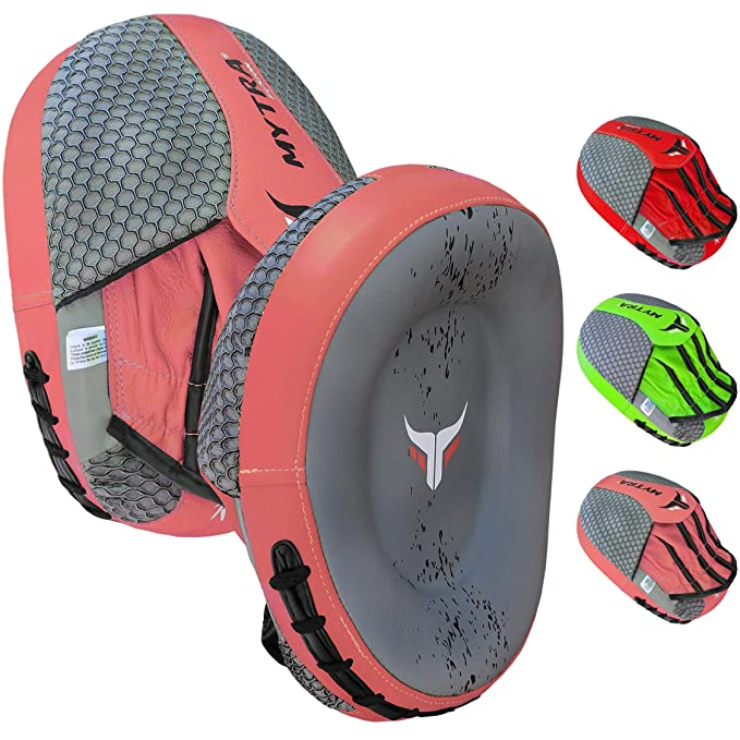 Mytra Fusion Synthetic Leather Curved Focus Pad for Boxing, Punching Training and Kick Boxing (Grey/Red): Amazon.es: Deportes y aire libre