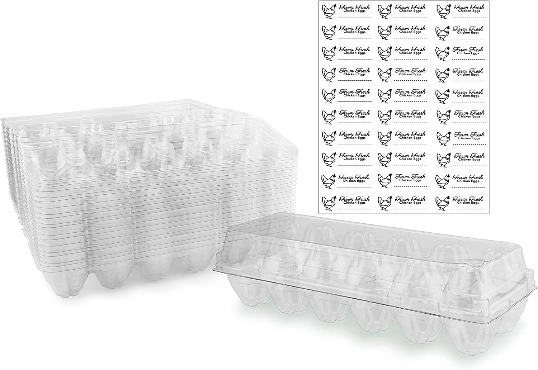 Lot of 5 Egg Cartons Crates~24 COUNT each~10 Dozen~120 Capacity~Clear Plastic
