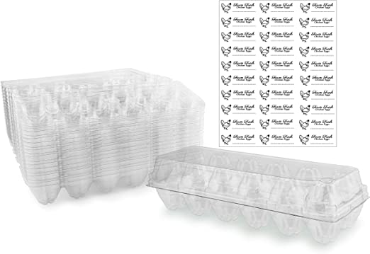 Amazon Com Clear Plastic Egg Cartons 20 Pack Tri Fold Containers For One Dozen Eggs Kitchen Dining