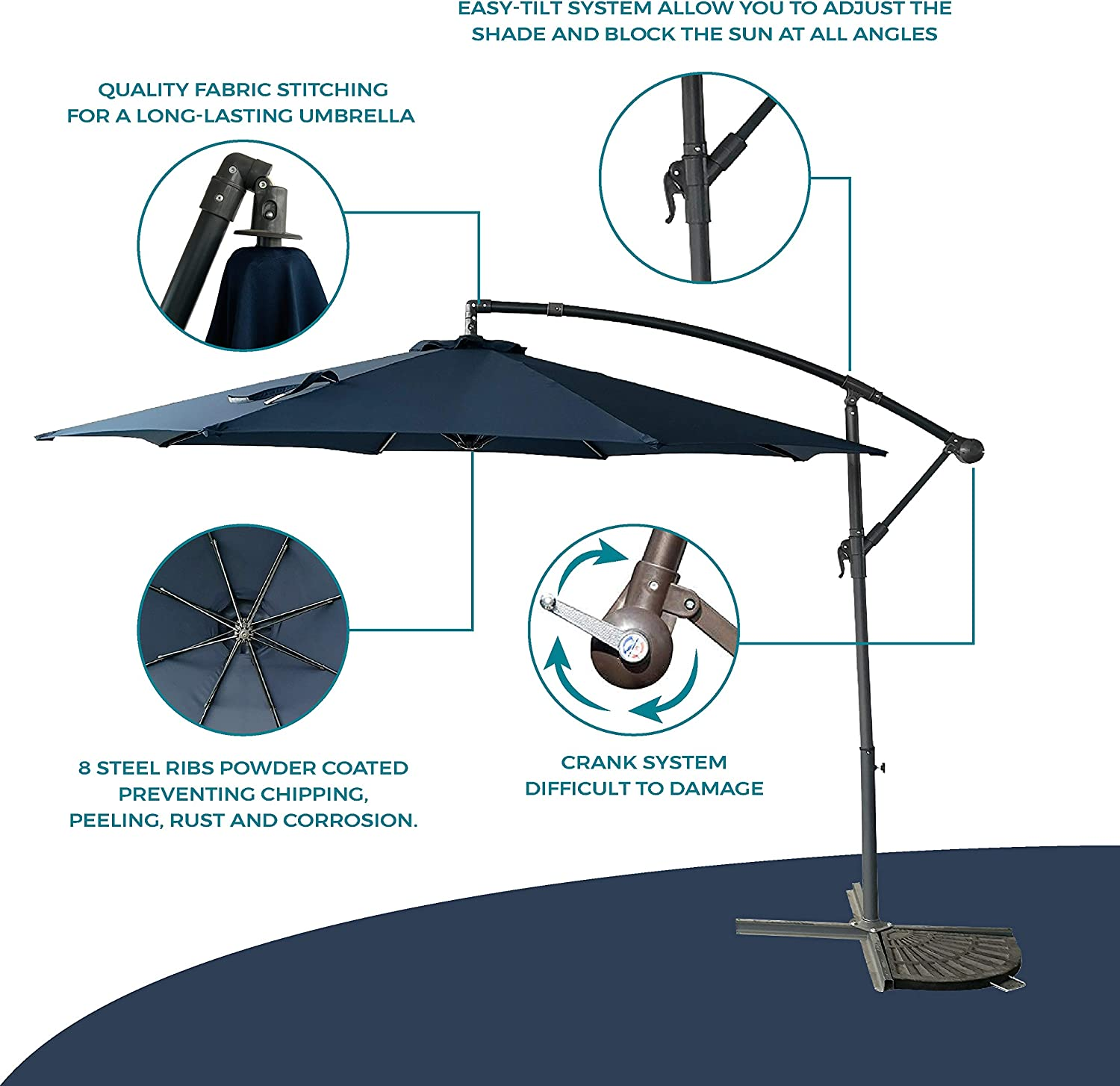 Project One 10ft Patio Offset Cantilever Umbrella Market Umbrellas Outdoor Umbrella with Crank Cross Base for Garden, Deck,Backyard and Pool Navy