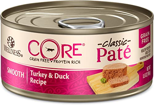 Wellness CORE Grain Free Canned Cat Food, Turkey Duck Pate, 5.5 Ounces Pack of 24