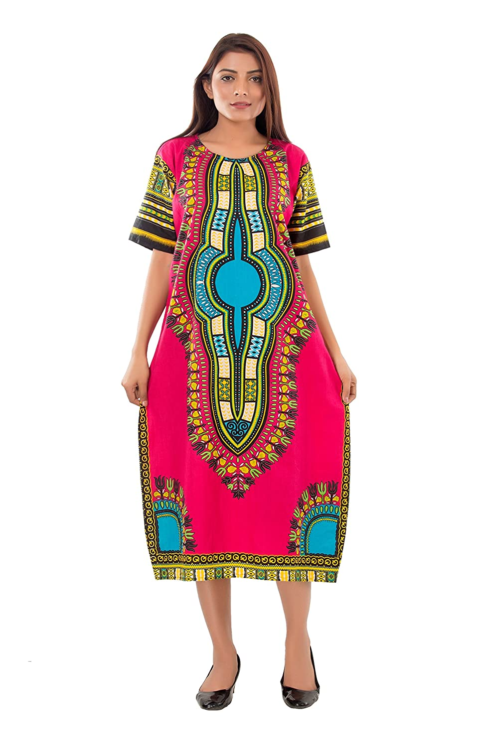 eb70fc6f7a7 Handicraft-Palace Pink Dashiki Floral Printed Long Tunic Maxi Dressing Gown  Plus Size African Dress Women s Cotton Sexy Short Sleeve One Piece Dress  Tunic ...