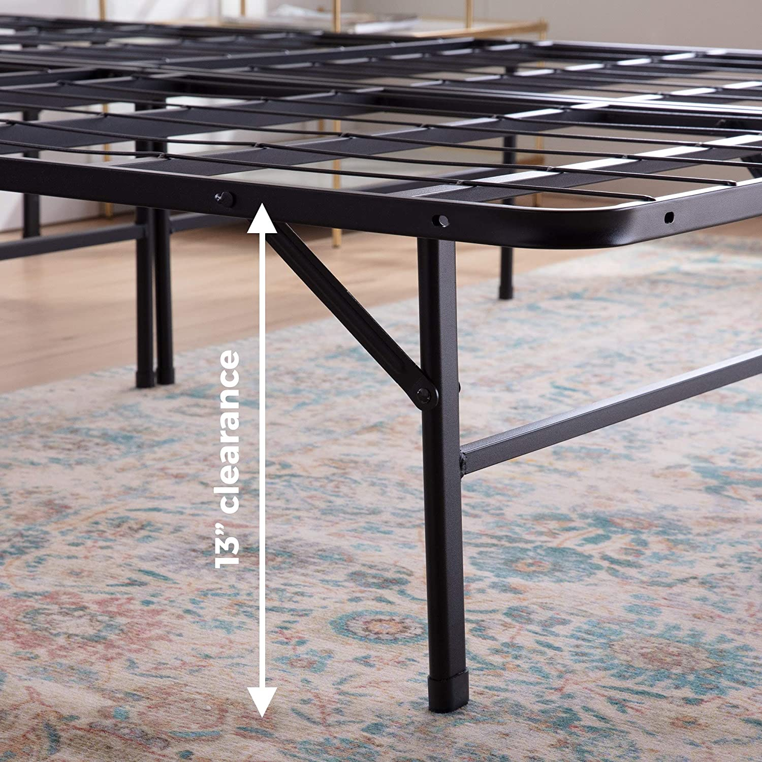 LINENSPA/14 Inch Folding/Metal/Platform Bed Frame Heavy Duty Construction 5 Minute Assembly/- Full 13 Inches Tons of Under Bed Storage
