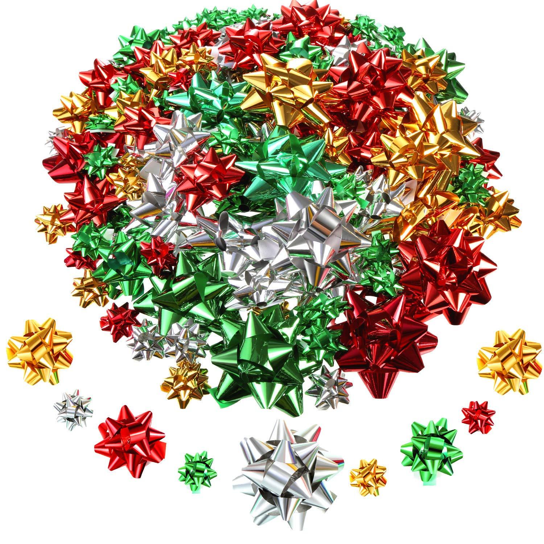 Tatuo Mini Noeuds demballage Cadeau de Noel Arcs Brillants Noeuds de Cadeaux Auto-Adh/ésifs pour D/écoration de Cadeaux Couleur de Noel