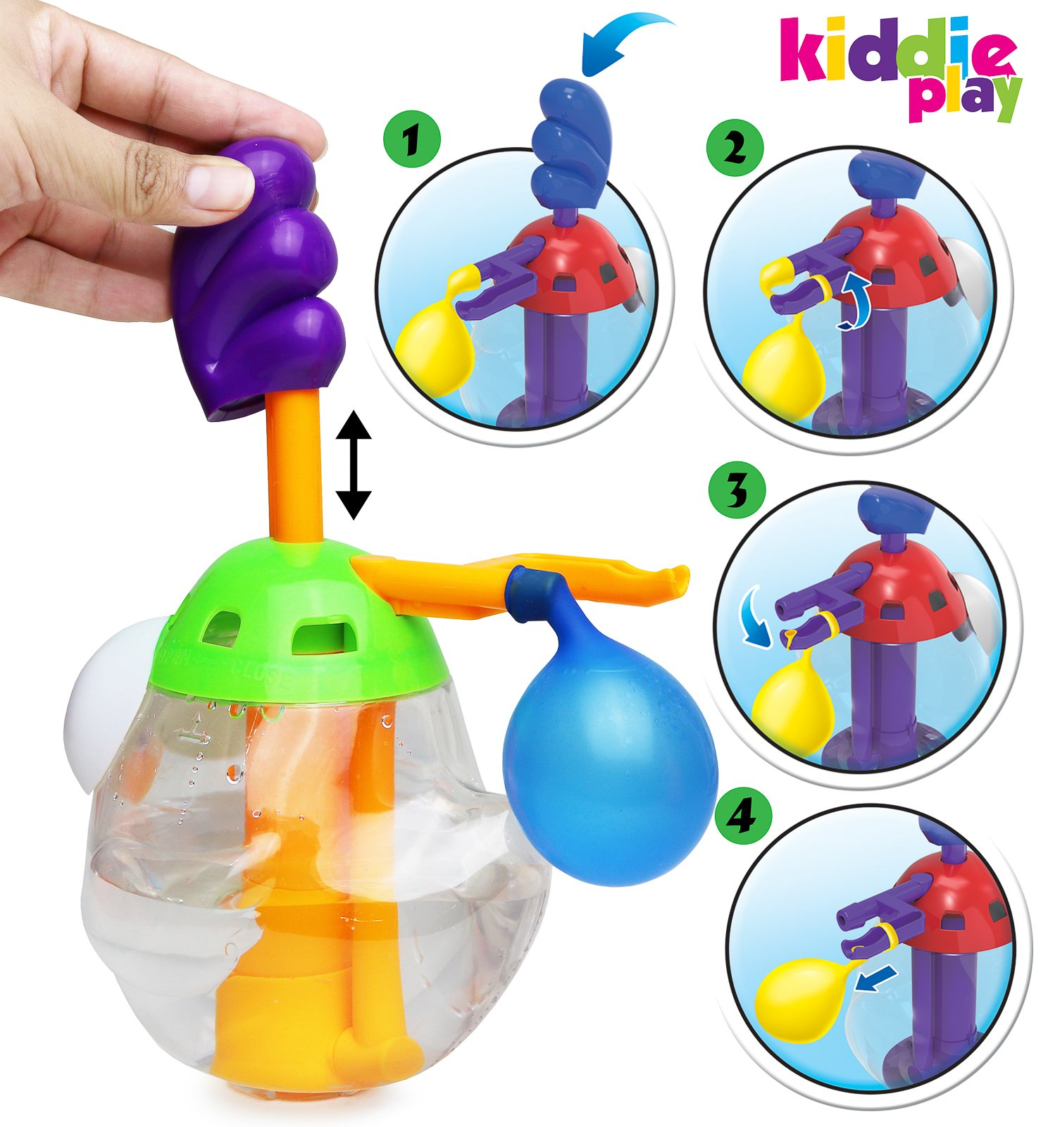 Kiddie Play Water Balloons for Kids with Filler Pump (250 Balloons) by Kiddie Play (Image #3)