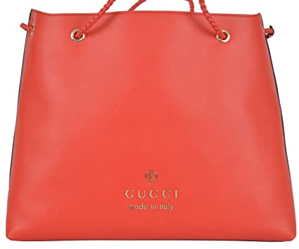 02f18d9ad0a Image Unavailable. Image not available for. Color  Gucci Women s Coral Red  Textured Leather Large Braided Handle Tote Handbag