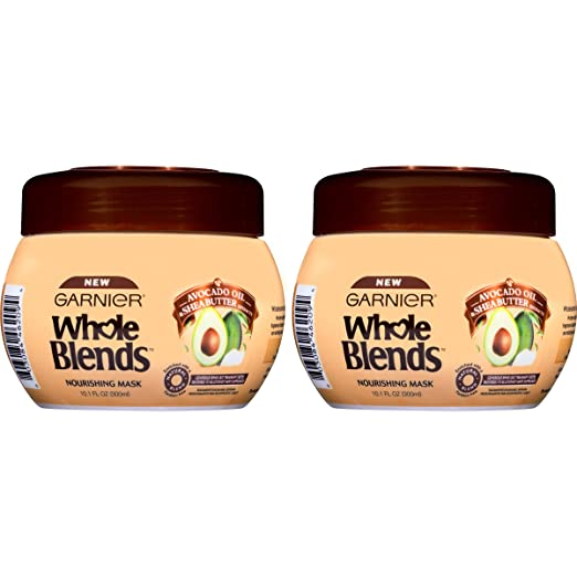 Garnier Hair Care Whole Blends Nourishing Mask with Avocado Oil & Shea Butter Extracts for Dry Hair, 2 Count