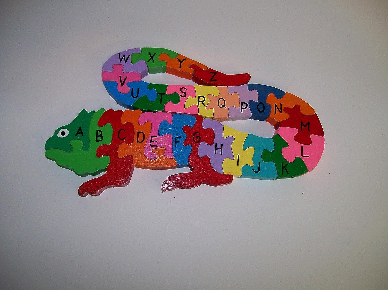 Childs Wooden Lizard Alphabet Puzzle