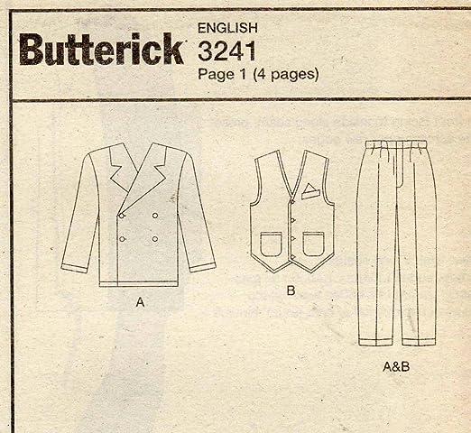 Amazon.com: Butterick 3241 Men\'s Costume Gangster Zoot Suit Sewing ...