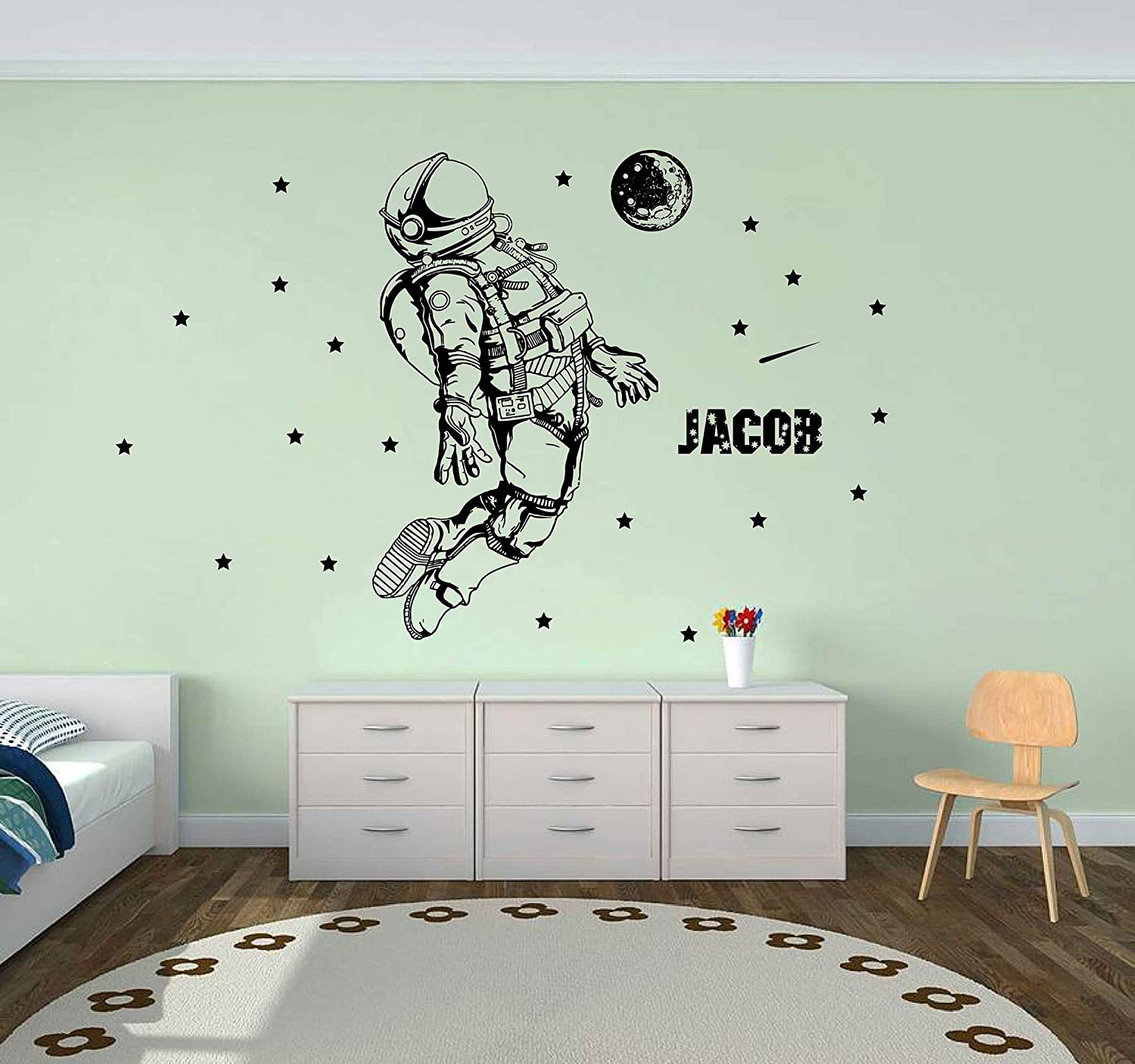 Astronaut Wall Sticker Cosmonaut Wall Decal Spaceman Personalized Name wall decor outer space for Boys Bedroom Playroom Decor Wall art ik3949