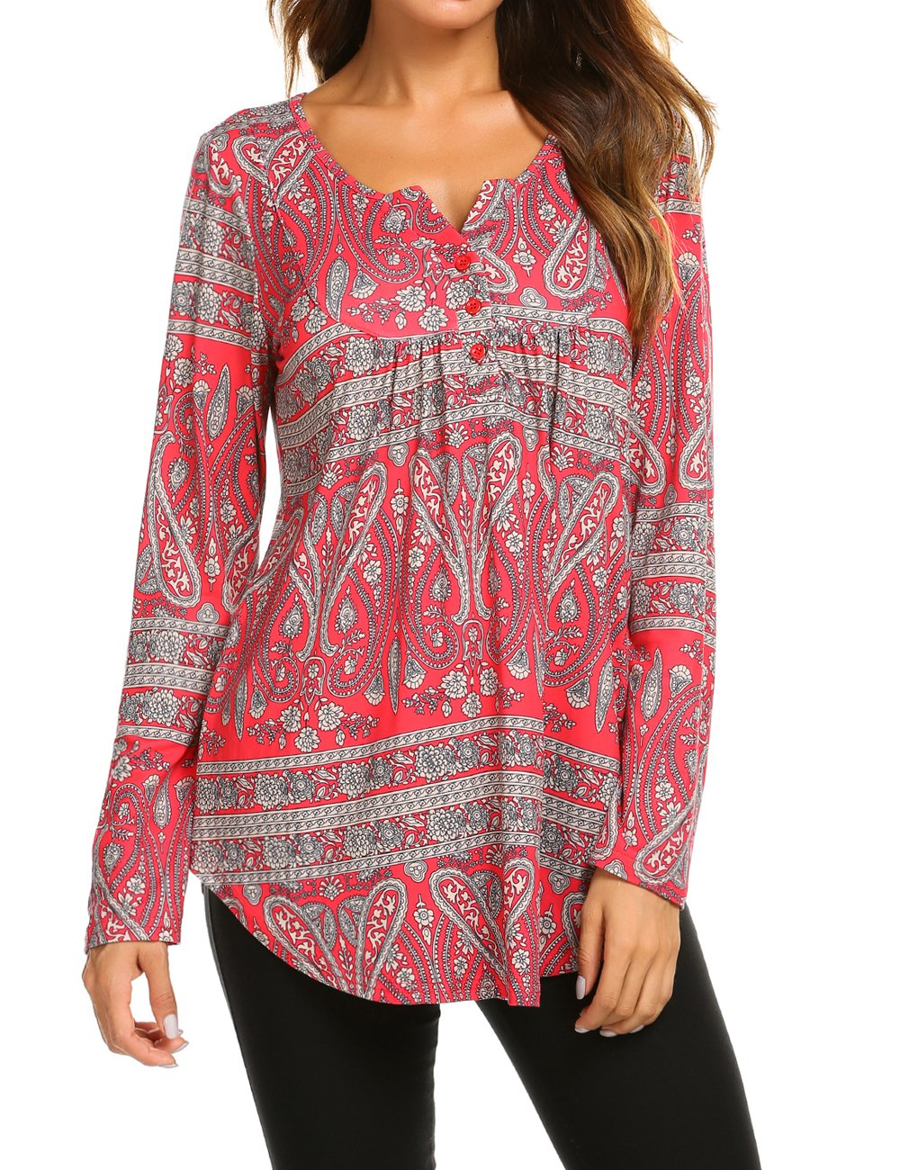 bcd1f48fec6d Women s Paisley Printed Long Sleeve Henley V Neck Pleated Casual Flare  Tunic Blouse Shirt product image