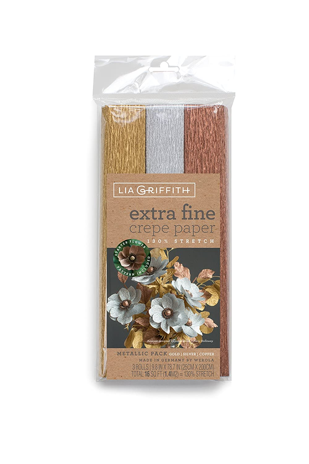 Lia Griffith Extra Fine Crepe Paper, Metallic Assortment, 3 Count Pacon Corporation LG11029