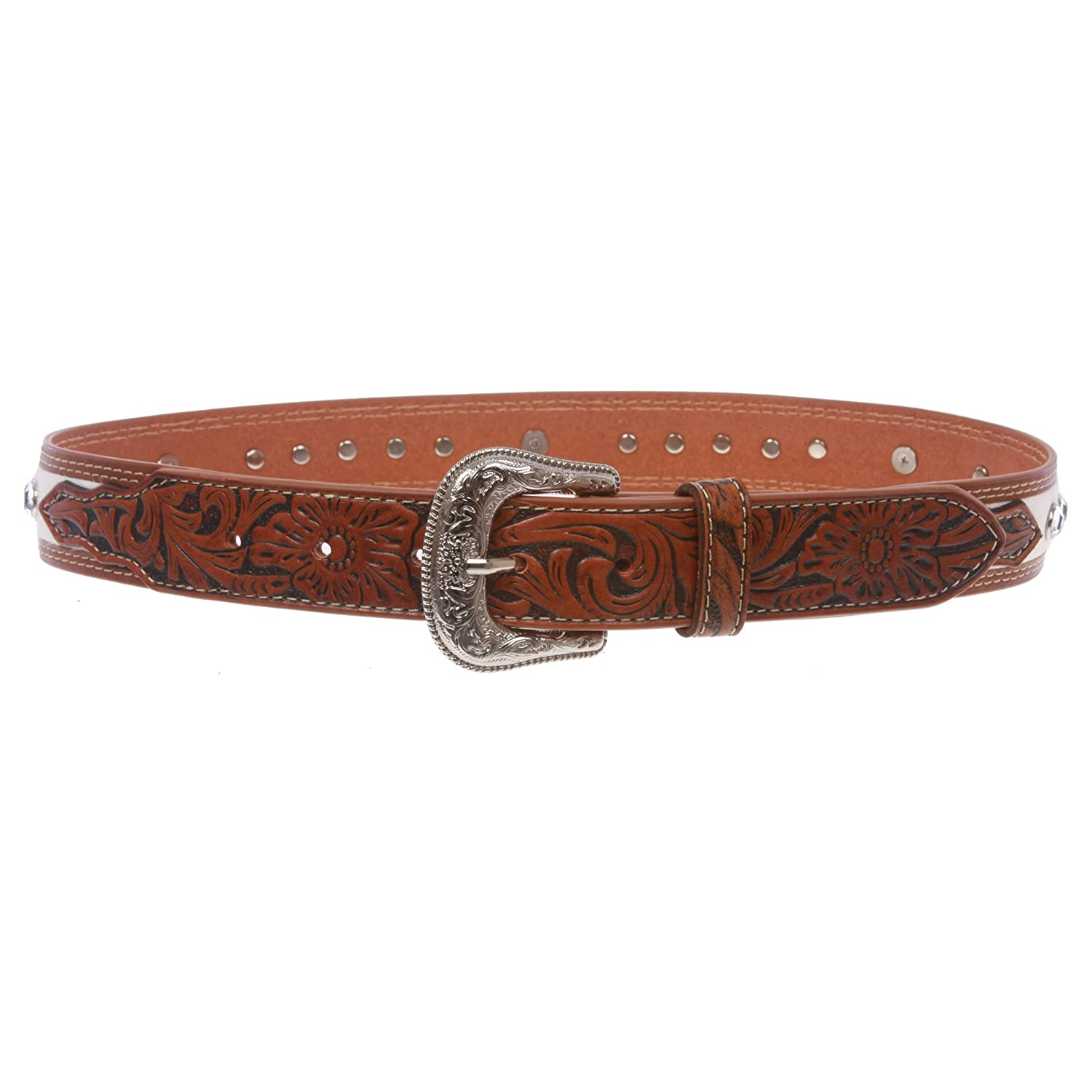 Kids Cowboy Cowgirl Western Rhinestone Belt with Silver Buckle Star Concho , tan/white | m 23- 25 Beltiscool cb111-lq7q-144it