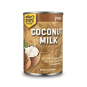 Nature's Greatest Foods, Pure Coconut Milk, No Guar Gum, Unsweetened, Easy Open Lid, 13.5 Ounce (Pack of 12)