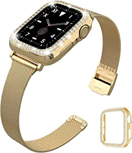 QVLANG Compatible for Apple Watch 38mm Band Series 3/2/1, Slim Stainless Steel Loop Mesh Strap with Women Bling Diamond Case for Apple Watch Series 3/2/1 (Gold, 38mm)