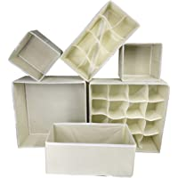 House of Quirk 6 Pack Foldable Drawer Organizer Dividers Cloth Storage Box Closet Dresser Organizer Cube Fabric Containers(Beige)