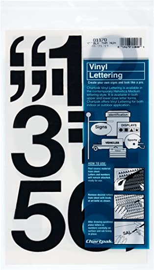 Amazon Com Chartpak Self Adhesive Vinyl Numbers 3 Inches High Black 10 Per Pack 01170 Office Products