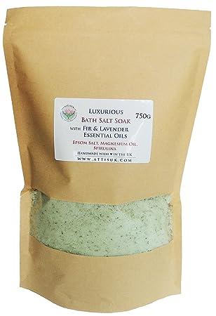 ATTIS Lujoso jabón de sal de baño con aceites esenciales de abeto y lavanda, aceite de magnesio, sal del Epsom, espirulina vegana hecho a mano para ...
