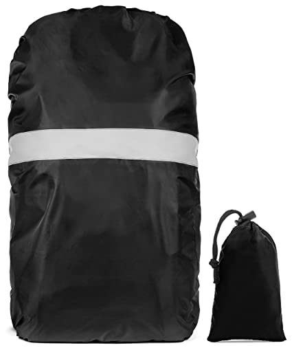 Backpack Rain Cover with Reflective Lining and Travel Bag - Waterproof  Knapsack Protector with Elastic Lining and safety Reflector for Biking    Hiking ... 683f26b075