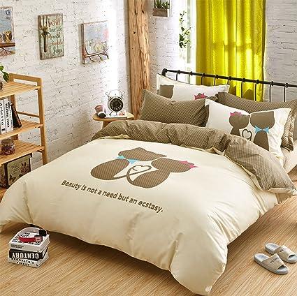 Gato amante pareja regalo 4 piezas Diseño de juego de cama ...