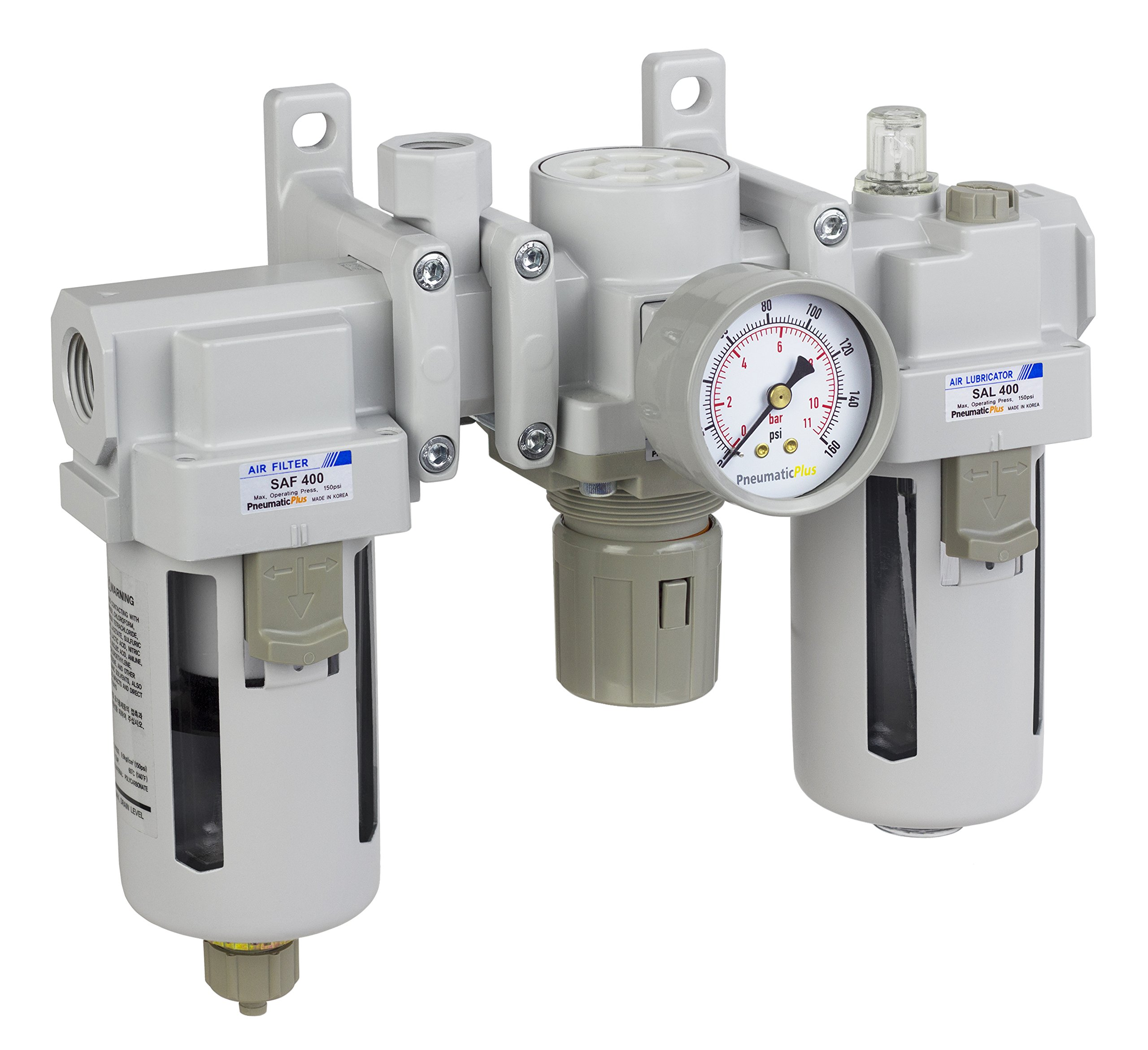 PneumaticPlus SAU400A-N04G - Dual Air System 1/2'' NPT - Air Filter, Regulator & Lubricator w/Additional Free Air Port 3/8'' NPT - Manual Drain, Poly Bowl, Pressure Gauge by PneumaticPlus