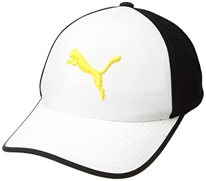 best loved 8fef5 e175b Puma Golf 2017 Men s Front 9 Flexfit Hat, Bright White-Black Energy Yellow,