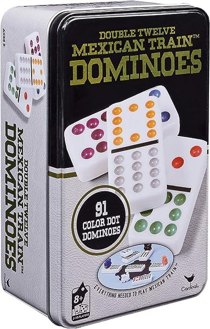Re:creation Group Plc - Juego de dominó doble (12 puntos de colores, viene en caja de metal): Amazon.es: Juguetes y juegos