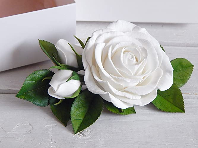 8a91369cd147a Amazon.com: Floral Headpiece White Rose Flower Hair Clip Bridal Accessories  Wedding Comb For Women Handmade: Handmade