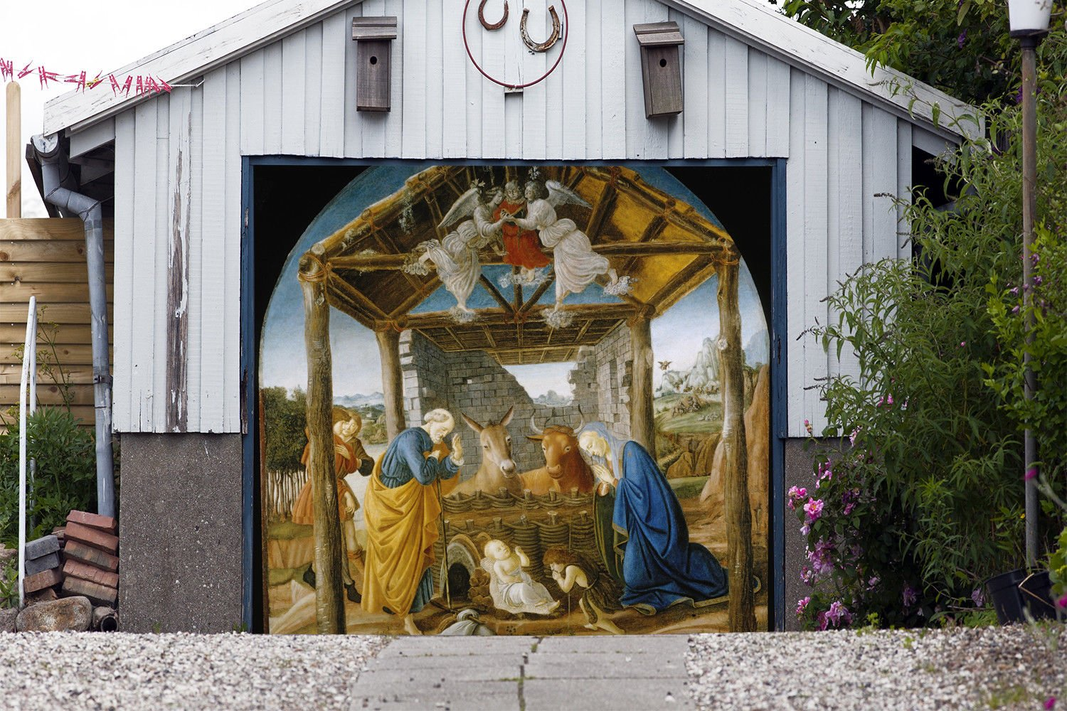 Single Garage Door Murals Nativity Scene Garage Door Banner Covers Billboard House Outdoor Christmas Holy Night Garage Decor Full Color Decor 3D Effect Print Banner Size 83 x 89 inches DAV203