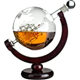 Eravino World Globe Decanter For Scotch, Bourbon, Rum, Liquor, and Wine with Antique Glass Ship and Bar Funnel – (850ml – 30oz)