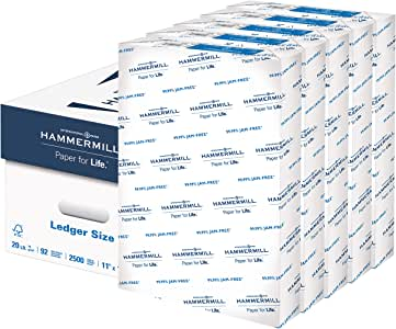 Hammermill 20lb Copy Paper, 11 x 17, 5 Ream Case, 2,500 Sheets, Made in USA, Sustainably Sourced From American Family Tree Farms, 92 Bright, Acid Free, Multipurpose Printer Paper, 105023C,White