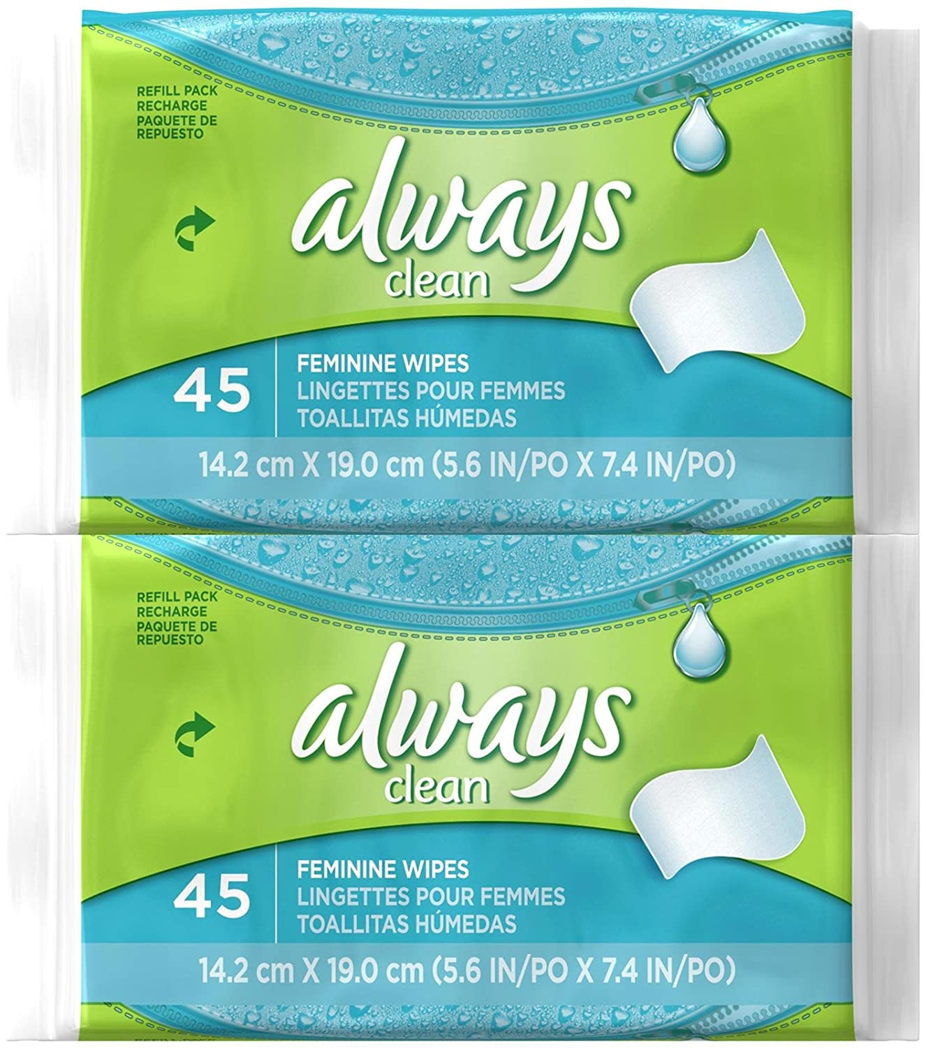 Amazon.com: Always Feminine Wipes Refill Pack - 45 ct - 2 pk: Health & Personal Care