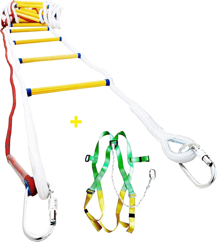 compacto F/ácil de almacenar reutilizable Escaleras antideslizantes de escape de incendios Escaleras de emergencia contra incendios Escalera de seguridad blanda//soporte de carga 60 kg