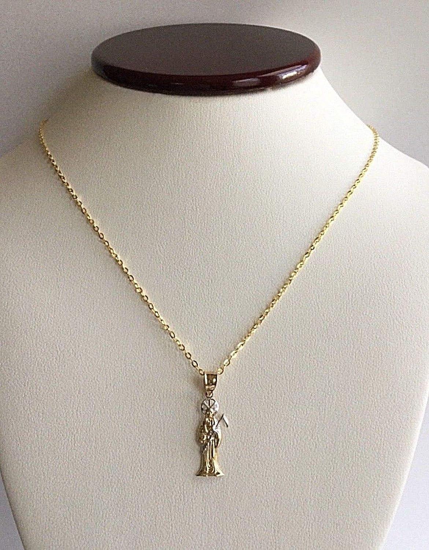 14K Gold 2 Tone Grim Reaper Necklace 18 LONG-27X9 mm //14K ORO Real Cadena DE LA Santa Muerte 18 Largo