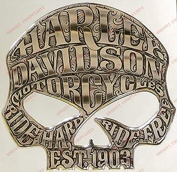 Escudo Logo Decal Harley Davidson, Skull Willie G, Adhesivo, Resina Efecto 3D.