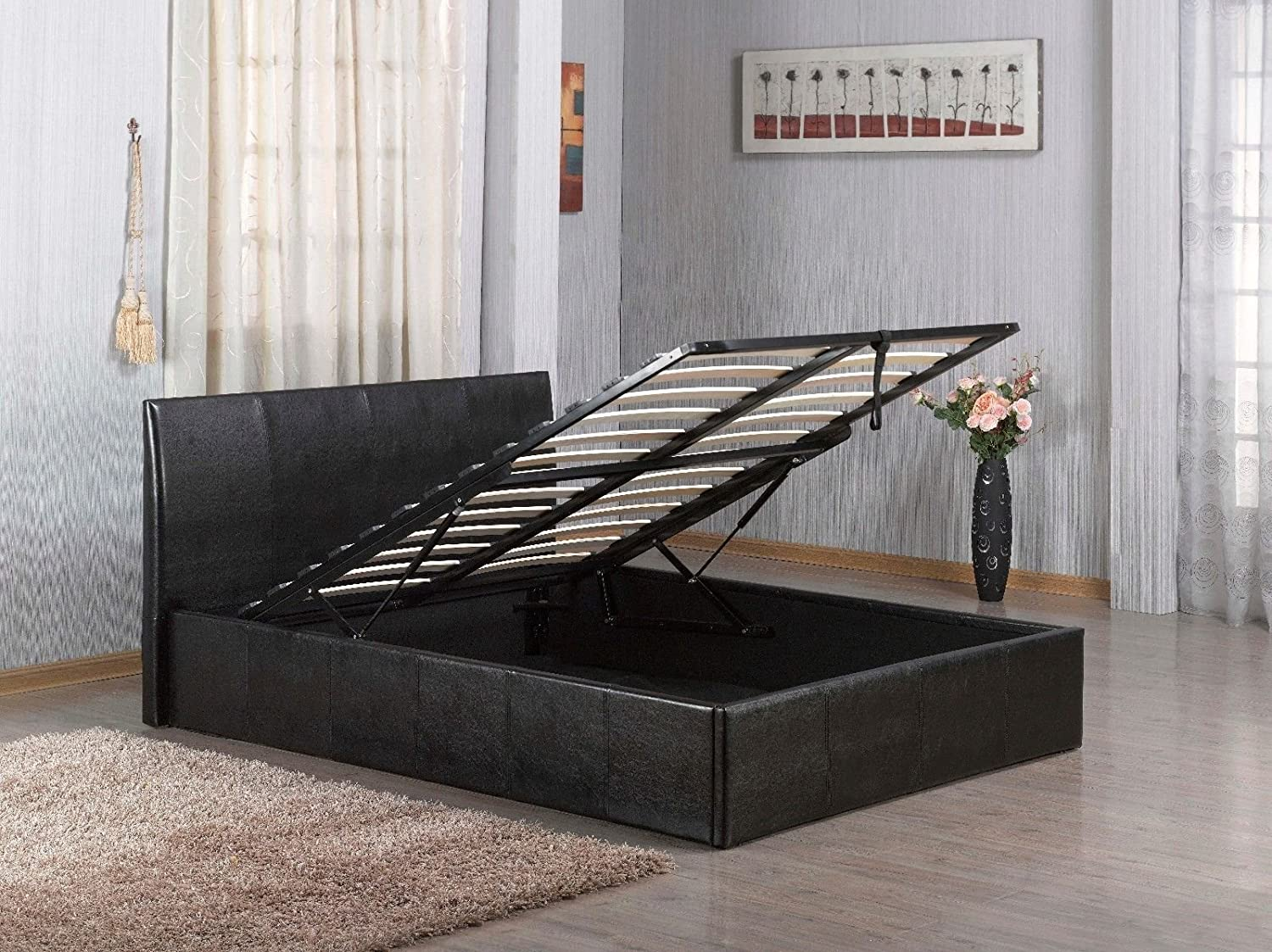 f2b96810c892 faux leather Storage Ottoman Gas Lift Up bed frame's in Black, Brown,  White, in single,small double,double, king size,super king size, bedframe's  (Black, ...