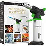 Spicy Dew Blow Torch - Creme Brulee Torch - Refillable Professional Culinary Kitchen Torch with Safety Lock and Adjustable Flame - Micro Butane Torch with Fuel Gauge - Cooking Food Torch (Green)