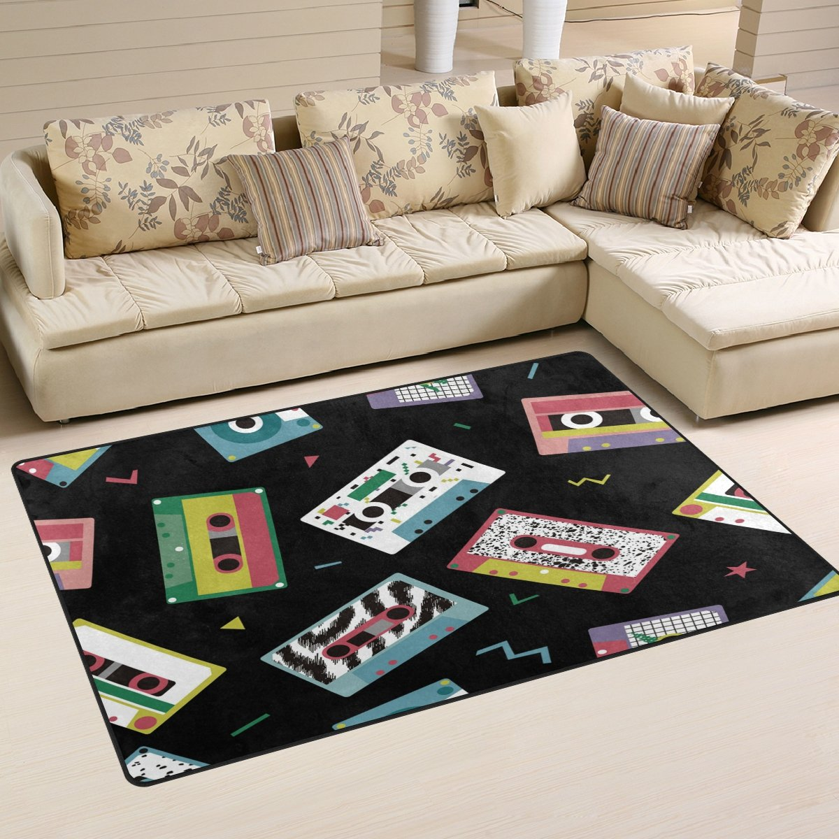WOZO Audio Tapes in Retro 80s Style Music Black Area Rug Rugs Non-Slip Floor Mat Doormats for Living Room Bedroom 60 x 39 inches